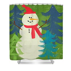 Snowman In Red Hat-art By Linda Woods Shower Curtain by Linda Woods