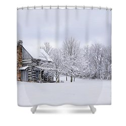 Snowy Cabin Shower Curtain by Benanne Stiens
