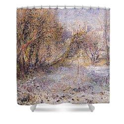 Snowy Landscape Shower Curtain by Pierre Auguste Renoir