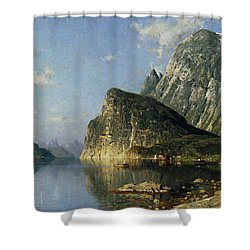 Sogne Fjord Norway  Shower Curtain by Adelsteen Normann