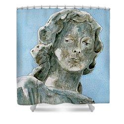 Solitude. A Cemetery Statue Shower Curtain by Brenda Owen