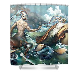 Something Fowl Afloat 2b Shower Curtain by Patrick Anthony Pierson