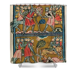 Song Of Roland Charlemagne  Shower Curtain by Photo Researchers