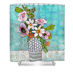 Sophia Daisy Flowers Shower Curtain by Blenda Studio