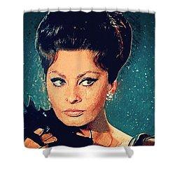 Sophia Loren Shower Curtain by Taylan Soyturk