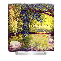 Swans, Soul Mates Shower Curtain by Jane Small