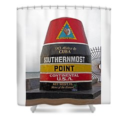 Southermost Point Of U.s.a. Buoy Marker Shower Curtain by John Stephens