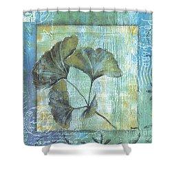 Spa Gingko Postcard 1 Shower Curtain by Debbie DeWitt