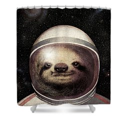 Space Sloth Shower Curtain by Eric Fan