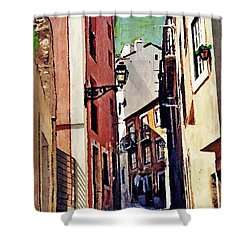 Spanish Town Shower Curtain by Sarah Loft