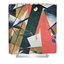 Spatial Force Construction Shower Curtain by Lyubov Sergeevna Popova
