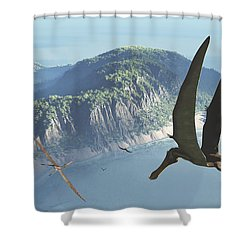 Species From The Genus Anhanguera Soar Shower Curtain by Walter Myers