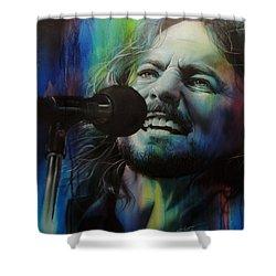 Eddie Vedder - ' Spectrum Of Vedder ' Shower Curtain by Christian Chapman Art