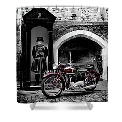 Speed Twin At The Tower Shower Curtain by Mark Rogan