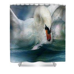 Spirit Of The Swan Shower Curtain by Carol Cavalaris