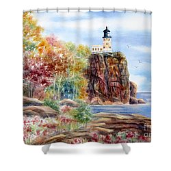 Split Rock Lighthouse Shower Curtain by Deborah Ronglien