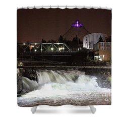 Spokane Falls Night Scene Shower Curtain by Carol Groenen