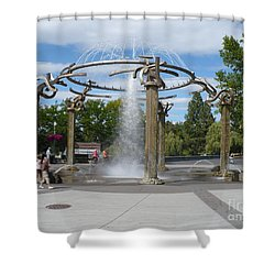 Spokane Fountain Shower Curtain by Carol Groenen