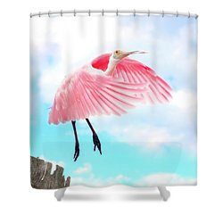 Spoonbill Launch Shower Curtain by Mark Andrew Thomas