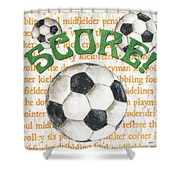 Sports Fan Soccer Shower Curtain by Debbie DeWitt