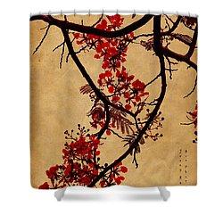 Spring Bloosom In Maldives. Flamboyant Tree I.  Japanese Style Shower Curtain by Jenny Rainbow