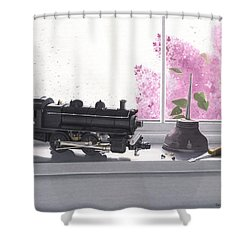 Spring Rain  Electric Train Shower Curtain by Gary Giacomelli