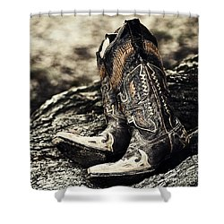Square Toes Shower Curtain by Scott Pellegrin