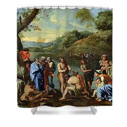 St John Baptising The People Shower Curtain by Nicolas Poussin
