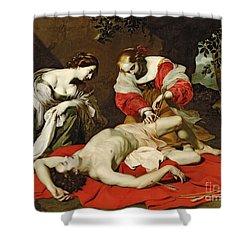 St Sebastian Tended By The Holy Irene Shower Curtain by Nicholas Renieri