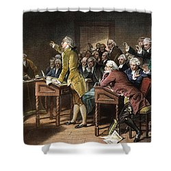 Stamp Act: Patrick Henry Shower Curtain by Granger