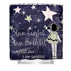 Star Light Star Bright Chalk Board Nursery Rhyme Shower Curtain by Mindy Sommers