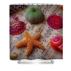 Starfish On Sheet Music Shower Curtain by Garry Gay