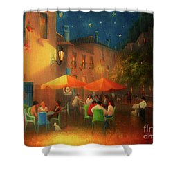 Starry Night Cafe Society Shower Curtain by Joe Gilronan