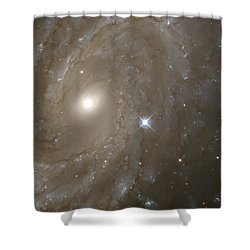 Stars And Spiral Galaxy Shower Curtain by The  Vault - Jennifer Rondinelli Reilly