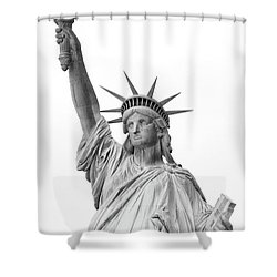 Statue Of Liberty, Black And White Shower Curtain by Sandy Taylor