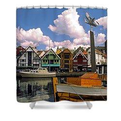 Stavanger Harbor Shower Curtain by Sally Weigand