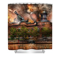 Steampunk - The War Has Begun Shower Curtain by Mike Savad