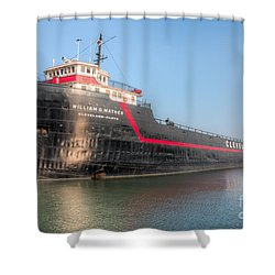Steamship William G. Mather I Shower Curtain by Clarence Holmes