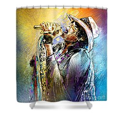 Steven Tyler 01  Aerosmith Shower Curtain by Miki De Goodaboom
