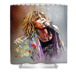 Steven Tyler 02  Aerosmith Shower Curtain by Miki De Goodaboom