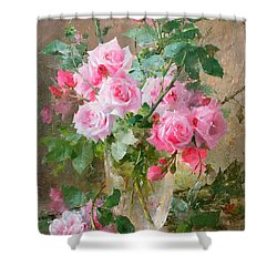 Still Life Of Roses In A Glass Vase  Shower Curtain by Frans Mortelmans