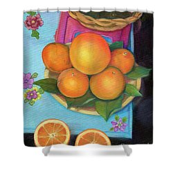 Still Life Oranges And Grapefruit Shower Curtain by Marlene Book