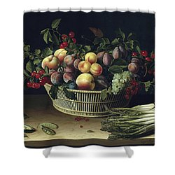 Still Life With A Basket Of Fruit And A Bunch Of Asparagus Shower Curtain by Louise Moillon