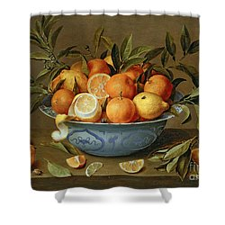 Still Life With Oranges And Lemons In A Wan-li Porcelain Dish  Shower Curtain by Jacob van Hulsdonck
