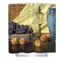 Still Life With Peaches Shower Curtain by Edward Chalmers Leavitt