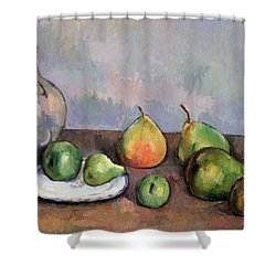 Still Life With Pitcher And Fruit Shower Curtain by Paul Cezanne