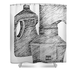 Still Life With Popcorn Maker And Laundry Soap Bottle Shower Curtain by Michelle Calkins