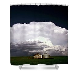 Storm Clouds Over Saskatchewan Granaries Shower Curtain by Mark Duffy