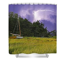 Storm Over Knott's Island Shower Curtain by Charles Harden