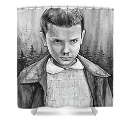 Stranger Things Fan Art Eleven Shower Curtain by Olga Shvartsur